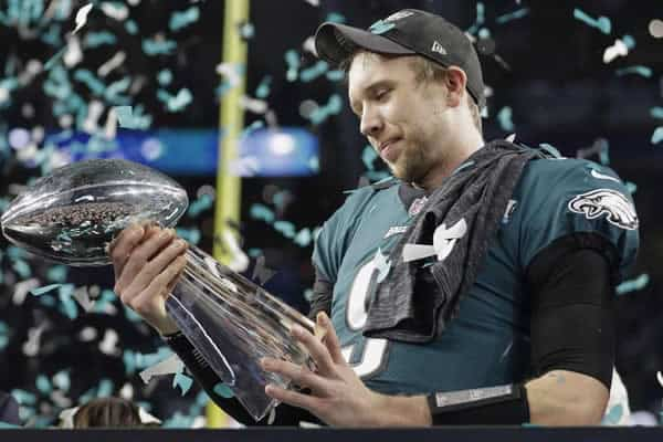 Nick Foles with Super Bowl 52 trophy