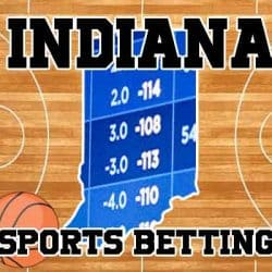 Indiana sports logo on court