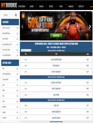 MyBookie Sportsbook homepage