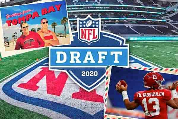 Brady, Gronkowski and Tagovailoa on postcards in front of the 2020 NFL draft logo