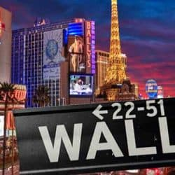 Casino Strip With Wall Street Sign In Front