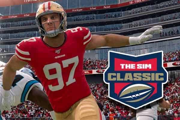 Virtual Nick Bosa doing a swim move over Bovada's The Sim Classic logo