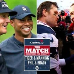 Mickelson, Woods, Brady, & Manning in a composite shot with the The Match logo in front