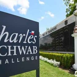 Charles Schwab Challenge Sign in front of wall of champions listing previous winners