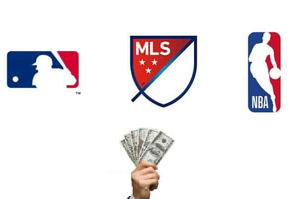 MLS MLB and NBA logos with a hand offering cash below