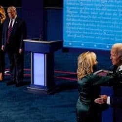 Trump and Biden on the debate stage