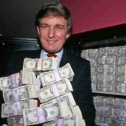 Trump with stacks of cash