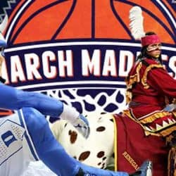 Duke Blue Devil and Florida State Seminole contemplating their March Madness odds