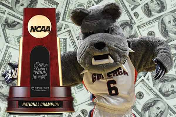 Gonzaga Bulldog with national championship in front of cash won by betting on March Madness odds