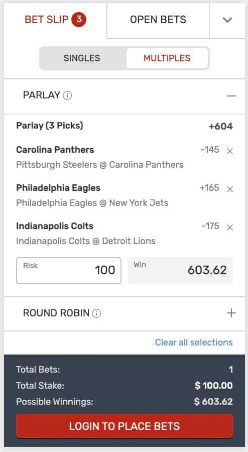Bovada NFL Parlay